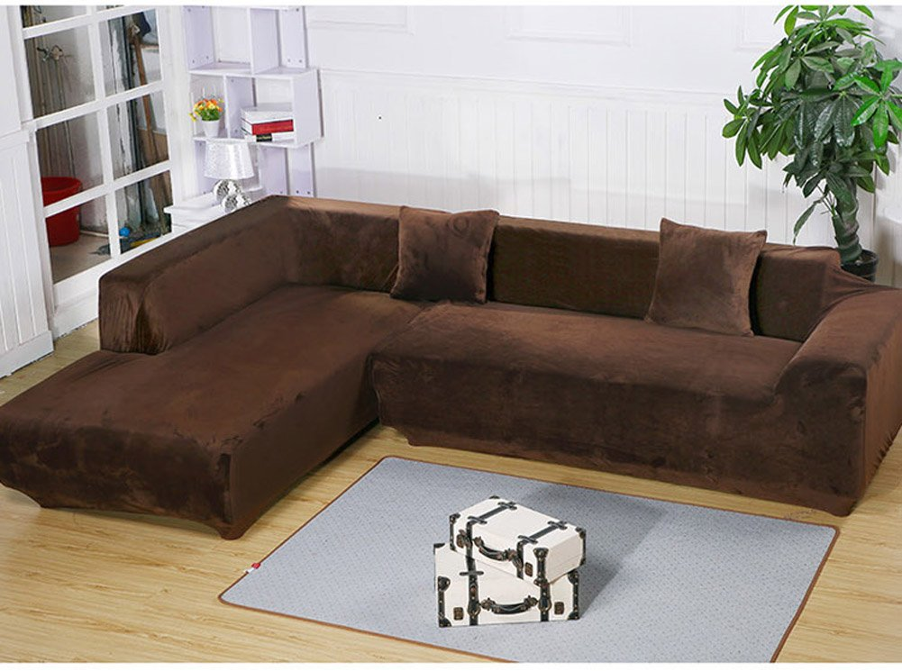 Getmorebeauty L Shape Sectional Thick Plush Velvet Couch Stretch Sofa Cover Sofa-Slipcovers (Coffee, L Shape 2+3 seats) by getmorebeauty
