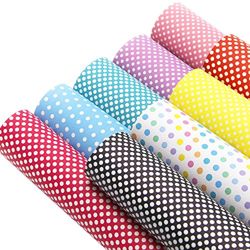 Synthetic Leather Sheets Rainbow Dot Pattern Printed Fabric 9 pcs 8
