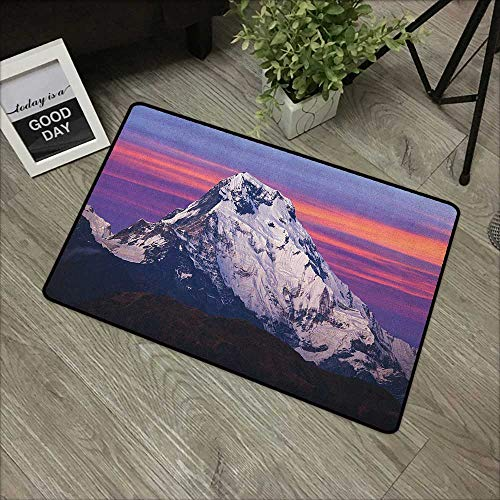 Corridor Door mat W24 x L35 INCH Nepal,Himalayan Mountain in The Sunset Nature Photography Idyllic Composition Trekking, Multicolor Easy to Clean, no Deformation, no Fading Non-Slip Door Mat Carpet from MsShe