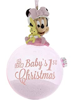 46ca40ccb Disney Parks Pink Baby Minnie Mouse Baby's First Christmas Ornament with  Snow