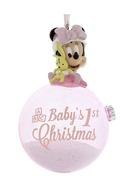 disney parks pink baby minnie mouse babys first christmas ornament with snow - Minnie Mouse Christmas Ornament
