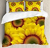 Our Wings Yellow Comforter Set,Cute Sunflower Field as Summer Background Happiness Colorful Nature Art Print Bedding Duvet Cover Sets Boys Girls Bedroom,Zipper Closure,4 Piece,Orange Yellow Twin Size
