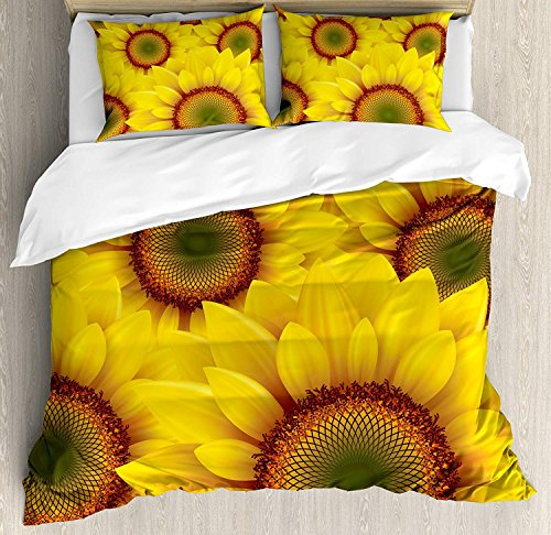 Our Wings Yellow Comforter Set,Cute Sunflower Field as Summer Background Happiness Colorful Nature Art Print Bedding Duvet Cover Sets Boys Girls Bedroom,Zipper Closure,4 Piece,Orange Yellow Twin Size by Our Wings