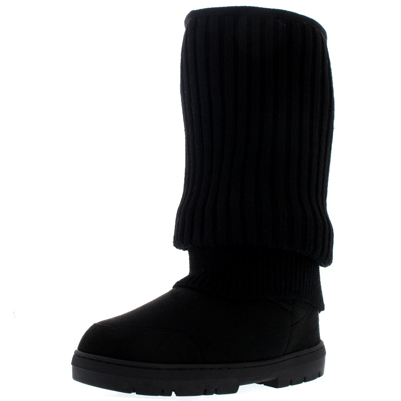 Holly Womens Tall Knitted Cardy Slouch Winter Snow Rain Outdoor Warm Shoe Boots - 8 - BLK39 EA0357