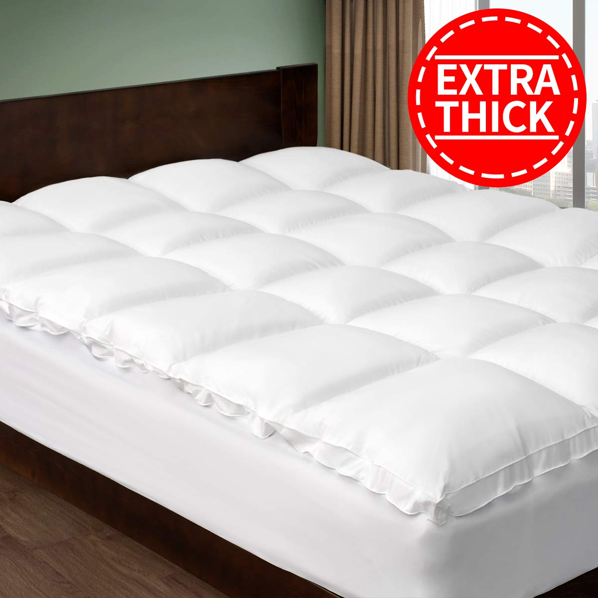 CHOKIT Extra Thick Cal King Mattress Topper, Cooling Cotton Mattress Paover, 400 TC Pillow Top Construction (8-21Inch Deep Pocked Ct),2 Inches Thick Breathable Snow White, California King