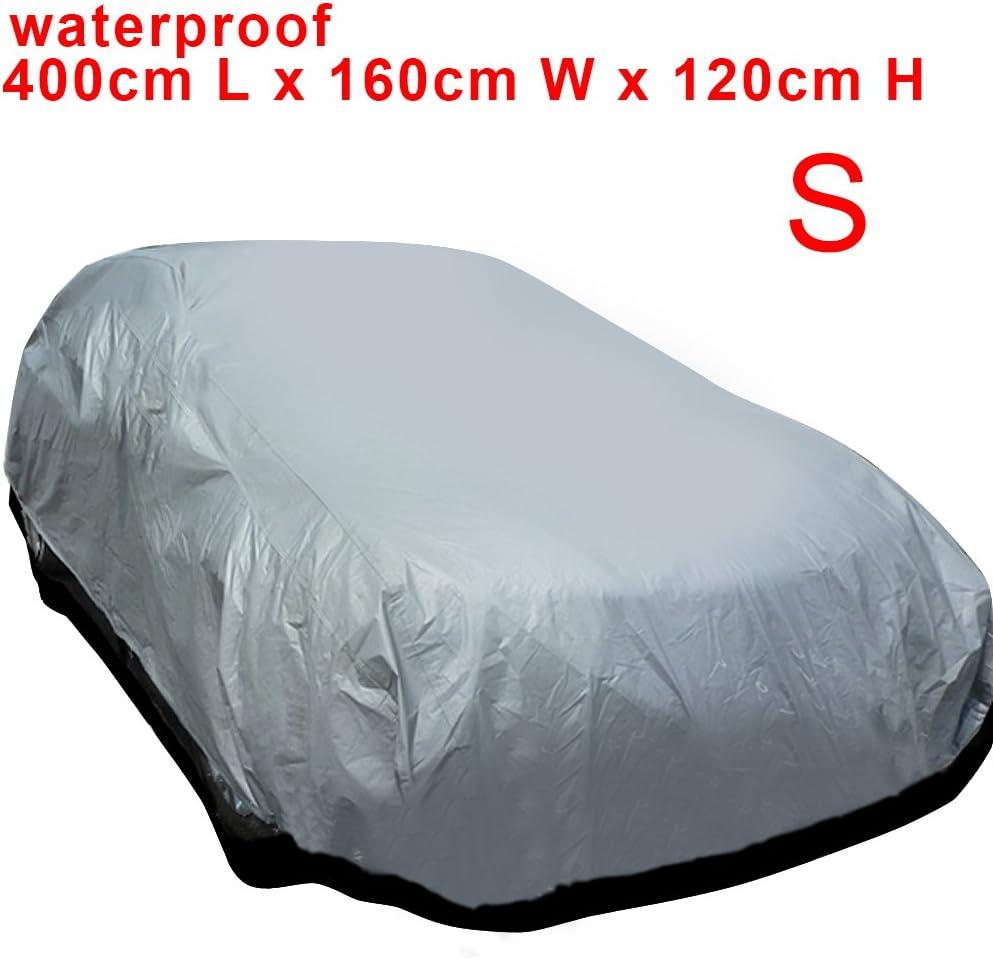 120CM 160 MultiWare Auto Abdeckung Autogarage Ganzgarage Abdeckung Abdeckplane Autoplane Wasserdicht UV Sonne Regen Schutz Silber S:400