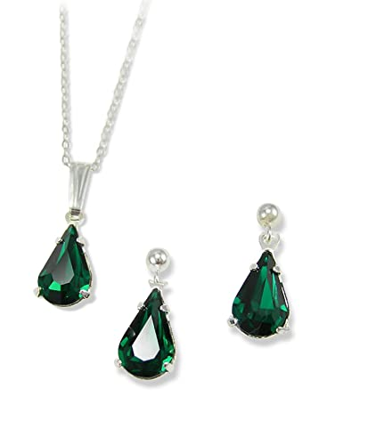 ea14b462c Green Diamante Emerald Tear Drop Set - Gold Finish - Made Using Swarovski  Crystals: LJ Designs and Oaks Jewellery: Amazon.co.uk: Jewellery