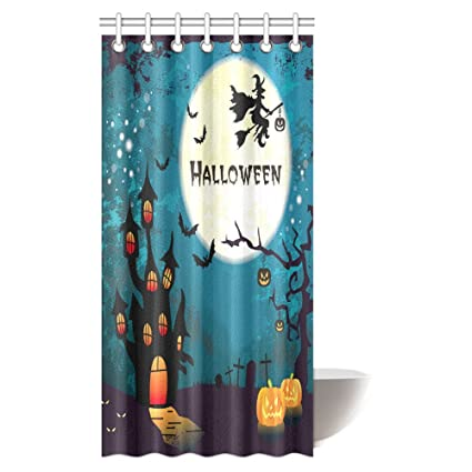 INTERESTPRINT Halloween Decor Shower Curtain Witch On Broom Flying At Ancient Western Horror Fabric