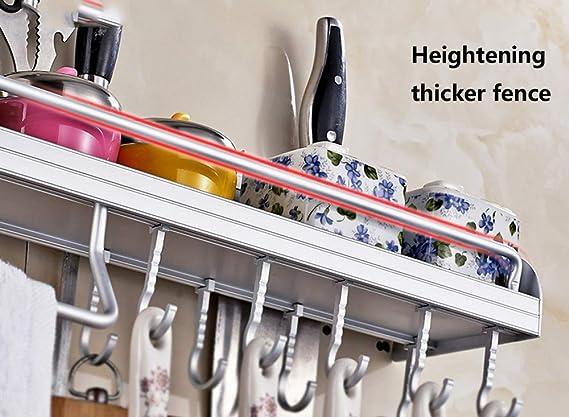 Estante de la cocina, estante de la cacerola de Wall Pot, estante de almacenamiento multifuncional del cuarto de baño, con 6-10 ganchos: Amazon.es: Hogar