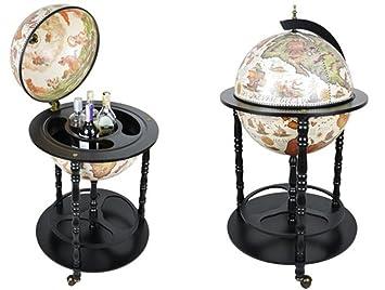 Charming House Design Bar Globe Bebidas Armario Carrito de Minibar en Forma de Globo Mundo Antiguo Mapa Antiguo Look Home Almacenamiento Accesorio de Bar ...