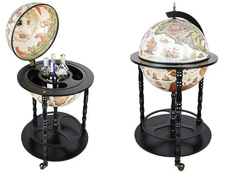 Charming House Design Bar Globe Bebidas Armario Carrito de Minibar en Forma de Globo Mundo Antiguo