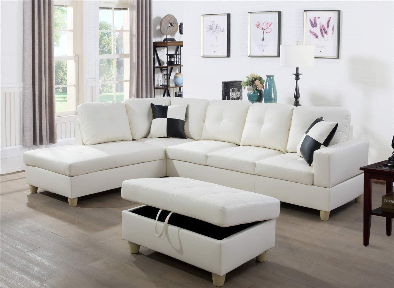 Ainehome Faux Leather 3 Piece Sectional Sofa Couch Set, L-Shaped Modern Sofa with Chaise Storage Ottoman and Pillows for Living Room Furniture, Left Hand Facing Sectional Sofa Set White