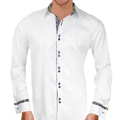 8b750fd861cb White with Black and Gold French Cuff Designer Dress Shirts - Made in USA  (XS