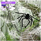 "SILVIA 4 Packs Halloween Spider Decorations: 35.5"" Huge Spider + 11.8 Ft Large Spider Web + 200sqft Stretchy Dense Spider Silk+ 20Pcs 1.8"" Plastic Spiders Indoor Outdoor Decoration Party Supplies"