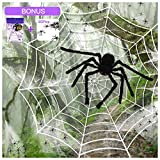 """SILVIA 4 Packs Halloween Spider Decorations: 35.5"""" Huge Spider + 11.8 Ft Large Spider Web + 200sqft Stretchy Dense Spider Silk+ 20Pcs 1.8"""" Plastic Spiders Indoor Outdoor Decoration Party Supplies"""