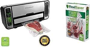 FoodSaver FM5860 Vacuum Sealer Machine with Express Bag Maker & Auto Bag Dispense and Rewind, Silver & 11