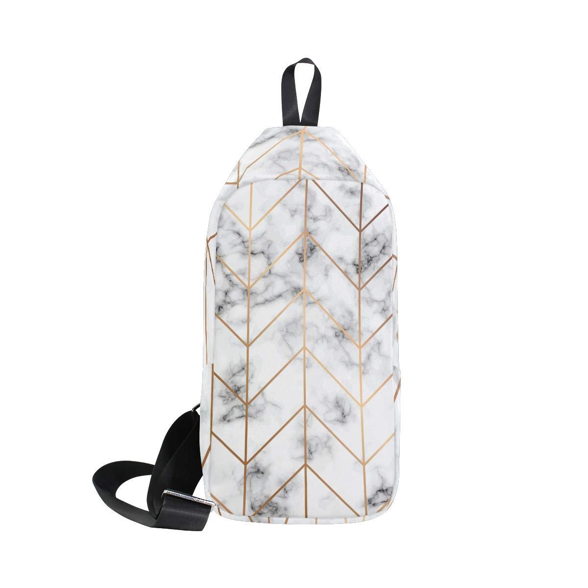 TFONE Abstract Art Marble Crossbody Bag Lightweight Chest Shoulder Messenger Pack Backpack Sling Bag