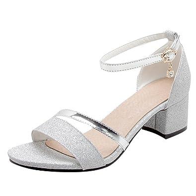 Mee Shoes Damen Chunky Heels Ankle Strap Pailletten Sandalen