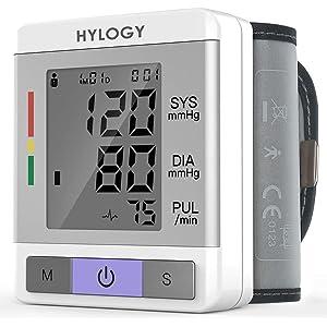 Tensiómetro de Muñeca,Hylogy Tensiómetro Digital de Muñeca Totalmente Automático Presión Arterial y Detección de
