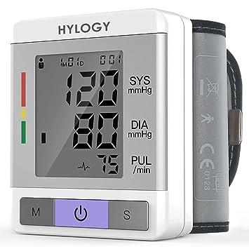 Tensiómetro de Muñeca,Hylogy Tensiómetro Digital de Muñeca Totalmente Automático Presión Arterial y Detección de Pulso Arrítmico Memoria (2 * 90) ...