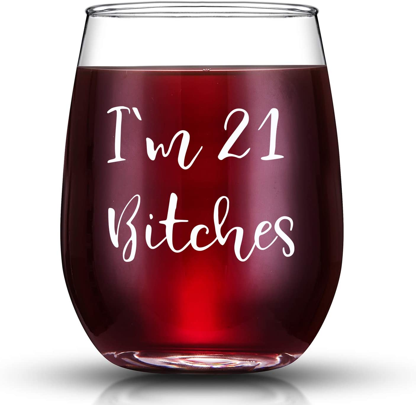 Amazon Com I M 21 Funny 21st Birthday Gifts For Women Wine Glass Best 21 Year Old Birthday Gift Ideas For Sisters Her Friends Coworkers Wine Glasses