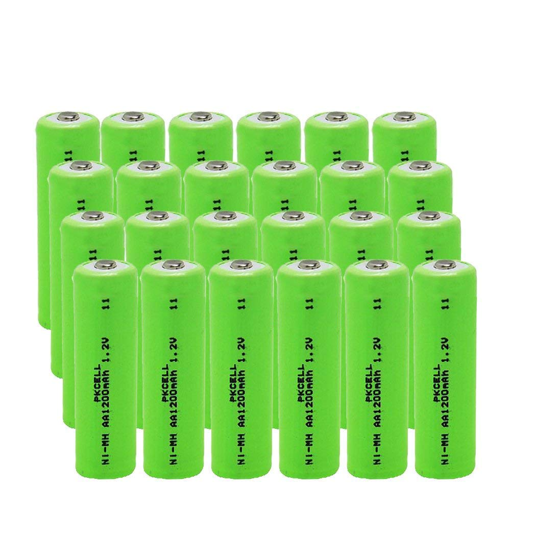 24x Pkcell Battery AA NI-MH Rechargeable Batteries 1200mAh for Solar Path Garden Lights, Remotes by PKCELL