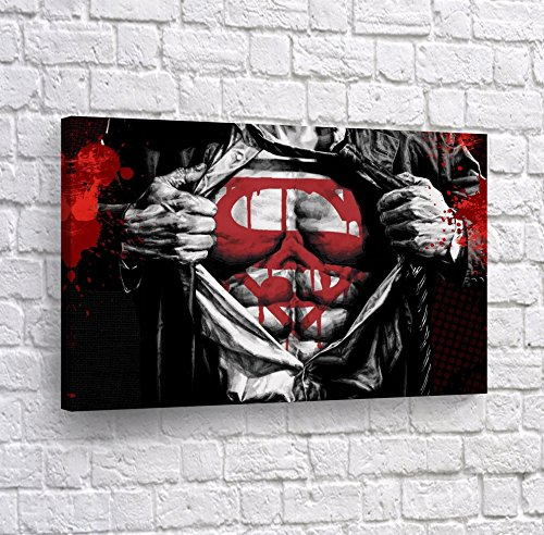 Clark Kent to Superman Transformation Red Black and White Wall Art Canvas Print Splash Style Artwork Super Hero Home Decor Decoration Stretched and Ready to Hang -%100 Hanmade in The USA - 8x12 -