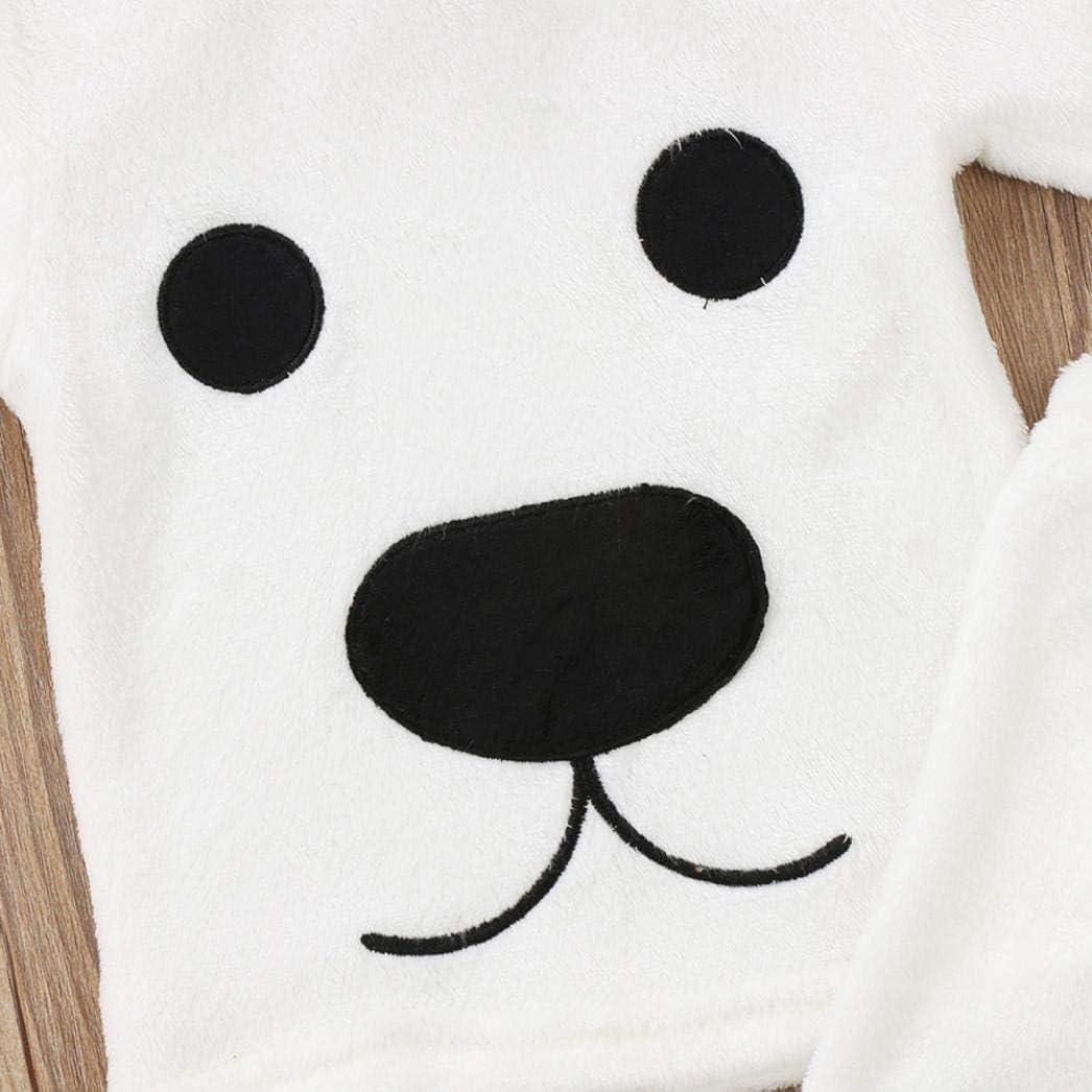 3Pcs Winter Newborn Baby Girl Boy Cartoon Tops Pants Outfits Fluffy Warm Clothes