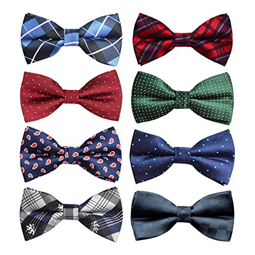 Pre-tied Tuxedo Adjustable Neck Bowtie for Wedding Party packs of 8 (05)