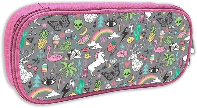 Estuche de lápices Infantil,Verano Doodle Geométrico Triángulo Ciervo U0026 Unicornio Rainbow Cactus Flamingo Piña En Grey_2659, Rosa: Amazon.es: Juguetes y juegos