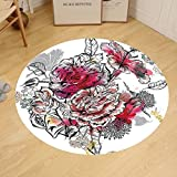 Gzhihine Custom round floor mat Floral Romantic Rose Petals Bouquet Bridal Wedding Themed Nostalgic Blooms in Mixed Colors Bedroom Living Room Dorm Multicolor