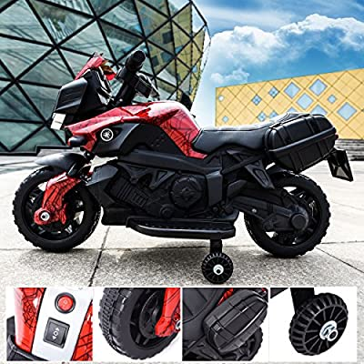 TOBBI 6V Kids Ride On Motorcycle Car Battery Powered 4 Wheel Bicycle Electric Toy Red: Toys & Games