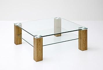 Couchtisch eiche massiv glas  Couchtisch, Beistelltisch, Glas, Eiche (Asteiche) massiv, mit Ablage ...