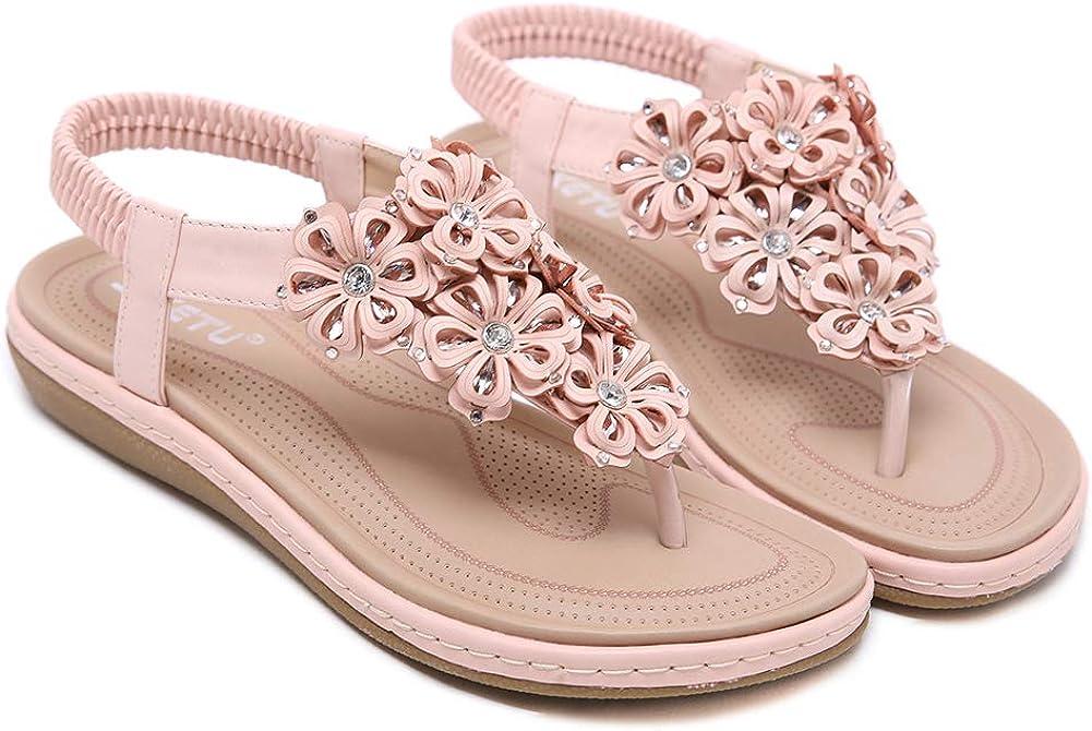 Baviue Womens Flowers Beaded Flat Thong Sandals Fashion Sandles