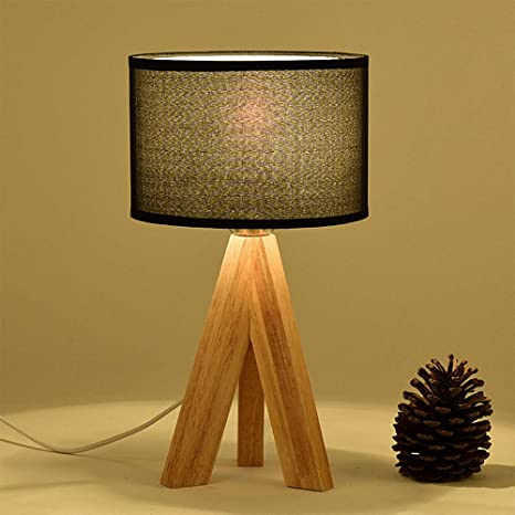 Lámpara de mesa de tela/de madera original japonesa/dormitorio/sala de estar/estudio/protección ocular/decoración/lámpara de noche (Black)
