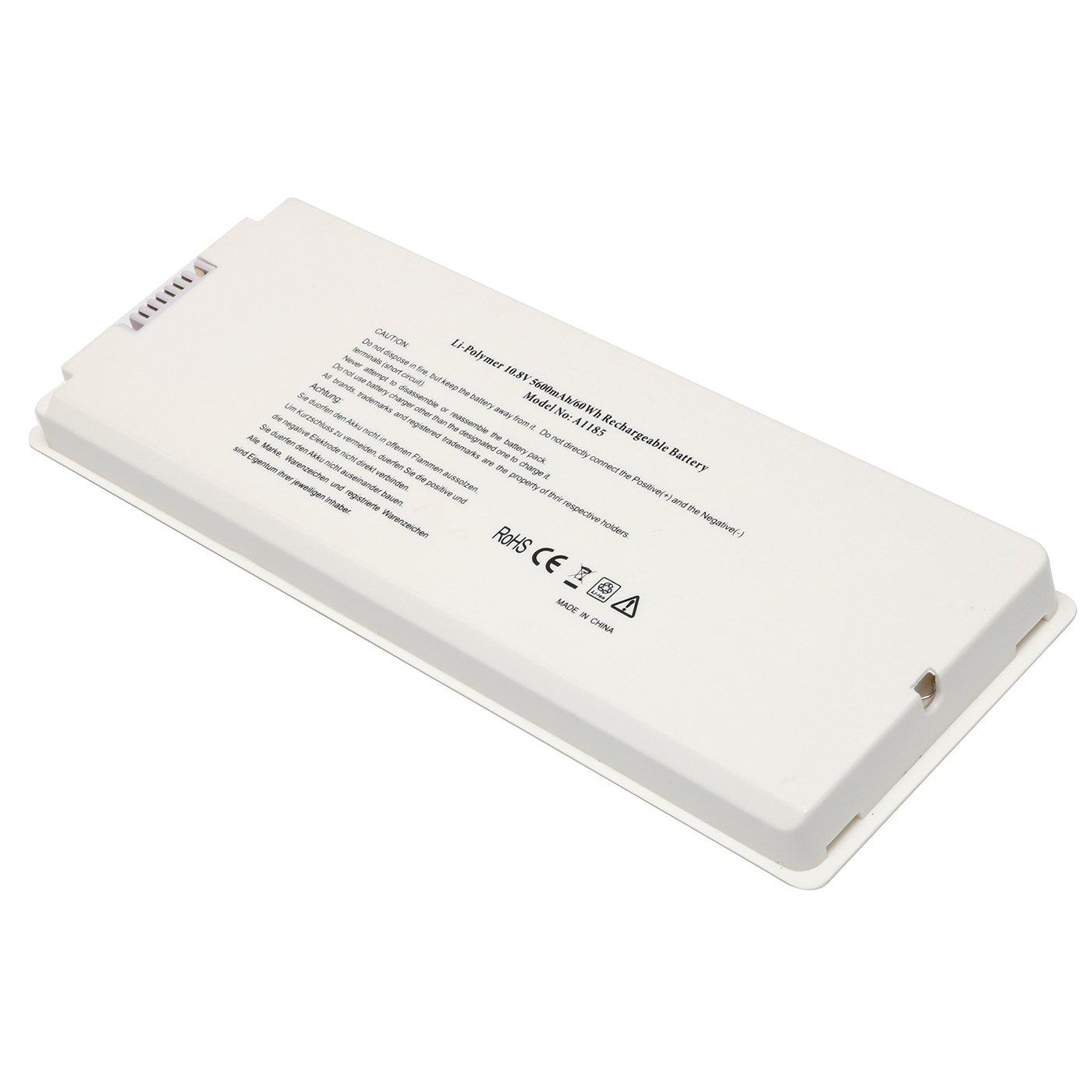 Bateria 10.8V 5600mAh/60Wh para Apple MacBook 13 A1185 A1181 MA561 MA561FE/A MA561G/A MA561J/A MA254B/A MB062X/A White