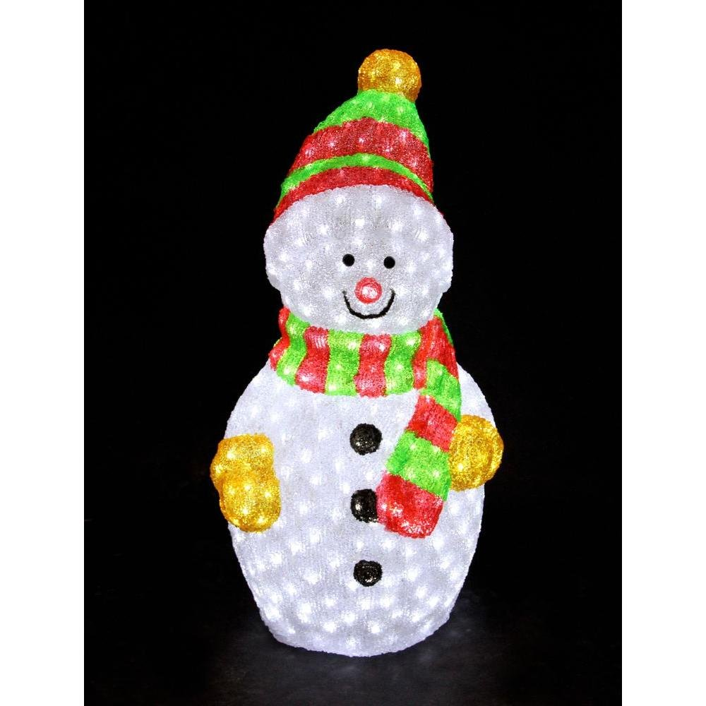 XEPA EHX-OS1025 35-InchCommercial Grade Acrylic Indoor/Outdoor LED Illuminated Snowman Sculpture, White
