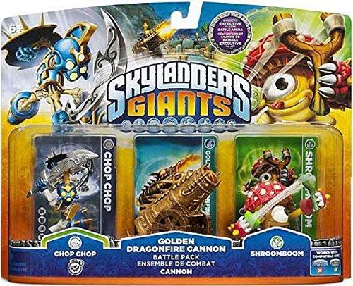 Skylanders Giants Exclusive Golden Dragonfire Cannon Battle Pack Chop Chop, Golden Dragonfire Cannon, & Shroomboom - Unlocks Exclusive in Game Battle Arena [Video Game] -