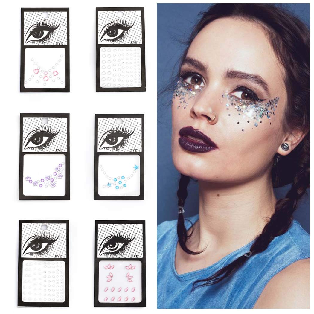 Barode Glitter Rhinestones Face Gems Mermaid Body Stickers Crystals Face Jewels Tattoo Sticker Clubwear Party Rave Festival Body Jewelry for Women and Girls(6 Pcs)
