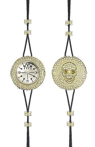 Joya Reloj Marco mavilla Pepito Reversible Skull acero PVD gold cristales psk03gd €290: Amazon.es: Relojes