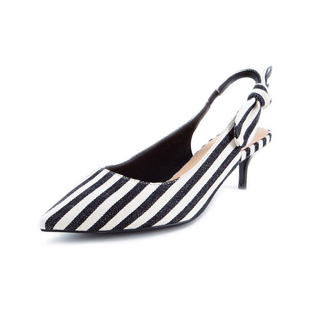 WENJUN Tip Bow Fine Stiletto High Heels Mujeres Moda Tip Pisos Mujeres Personalidad Sandalias Creativas Salvaje Zapatos Profesionales 35 EU|Black And White Stripes
