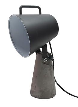 Meubletmoi Lampe Design Industriel Beton Metal Noir Style