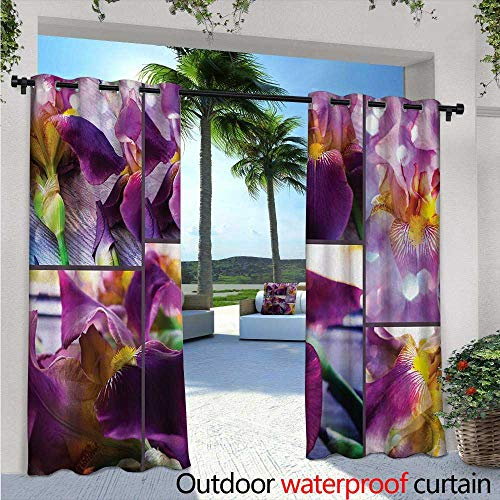 Pcs Acrylic Iris - Rustic Patio Curtains W84 x L108 Blooming Iris Flowers Orchids on Rustic Wood Natural Floral Beauty Romantic Image Outdoor Curtain for Patio,Outdoor Patio Curtains Yellow Purple