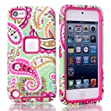 Lantier For iPod Touch 5th Case,Plastic Dual Layer TUFF Hard Cover Camo Hybrid Silicone Quakeproof Drop Resistance Protective Shell Case for iPod Touch 5 5th Generation with Screen Protector and Stylus Pen Paisley Flower/Hot Pink