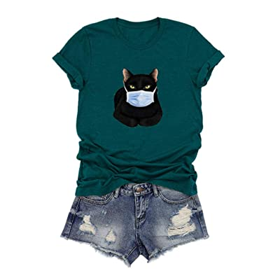 Xinantime Womens Casual Tee Cute O-Neck Cartoon Cat Printed Short Sleeve O-Neck T-Shirt Blouses Tops: Clothing