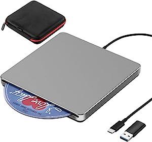 External DVD Drive USB 3.0/Type-C Portable Slot-in CD/DVD+/-RW Burner Player USB C Superdrive CD ROM for Laptop Mac MacBook Pro Air Windows Desktop PC (Grey)