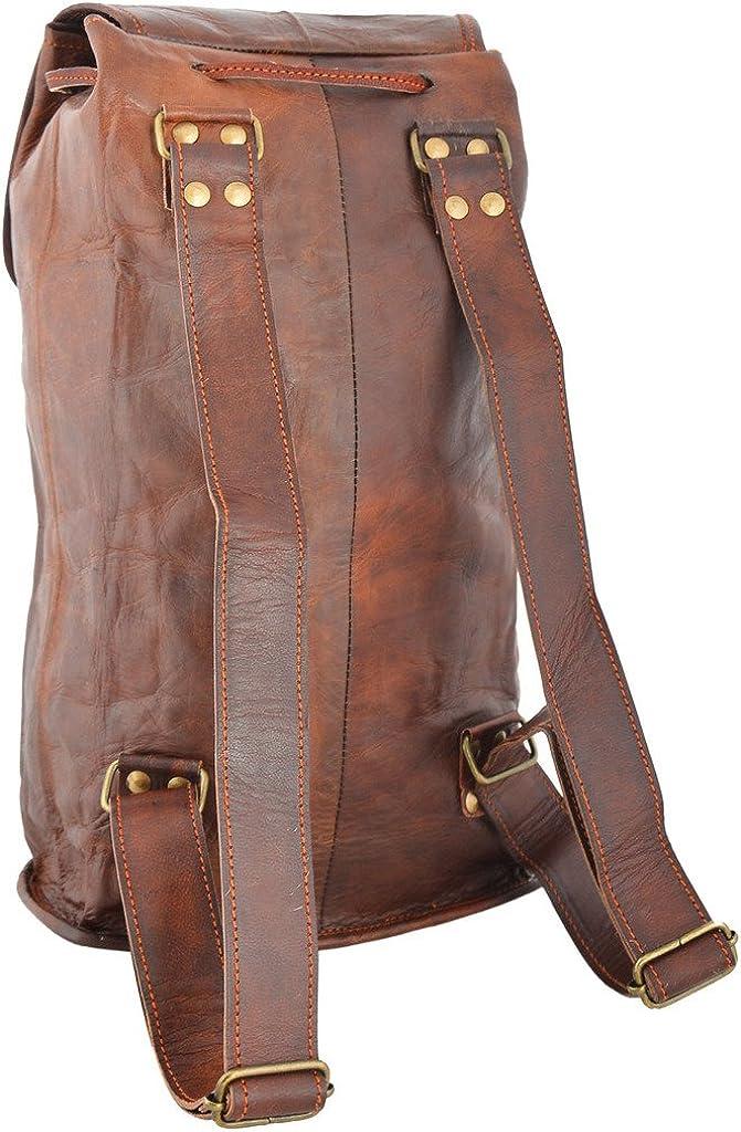 Rustic Leather Village Goat Vintage Leather Backpack Rucksack Bag 18*8*9 Inches
