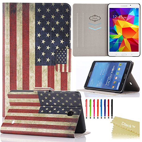 Galaxy Tab 4 7.0 Case, T230 Case, Dteck(TM) Fashion Vintage Design Flip PU Leather Cute Case [Card Slots] Magnetic Closure Stand Case for Samsung Galaxy Tab 4 7.0 inch T230/T231/T235 (1 US Flag)