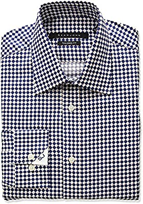 Sean John Men's Tailored Fit Diamond Print Spread Collar Dress Shirt