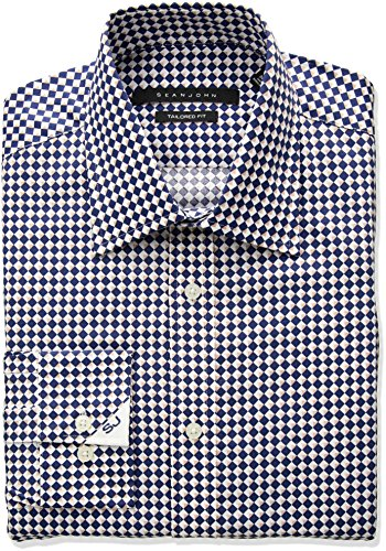 Sean John Tailored Dress Shirt (Sean John Men's Tailored Fit Diamond Print Spread Collar Dress Shirt, Blue/Multi, 16.5